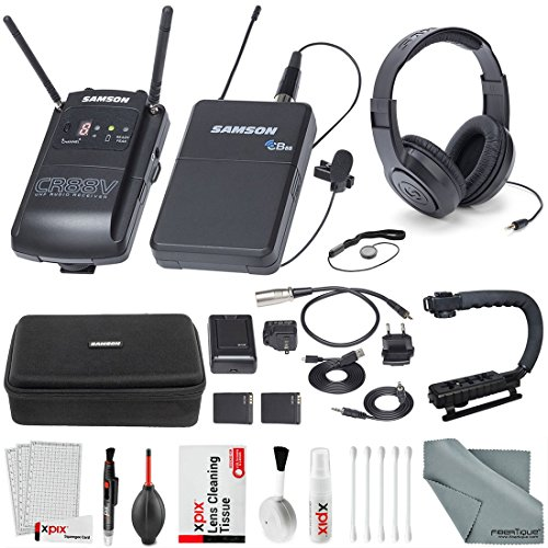 Samson Concert 88 Camera Combo UHF Wireless System (Channel K) and Samson SR450 Studio Headphones with Accessory Bundle and Cleaning Kit from Samson Technologies