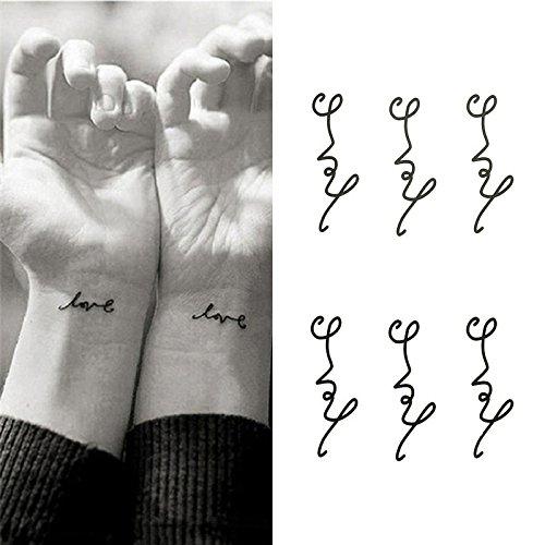 (Oottati Small Cute Temporary Tattoo Wrist Handwriting Love (Set of)