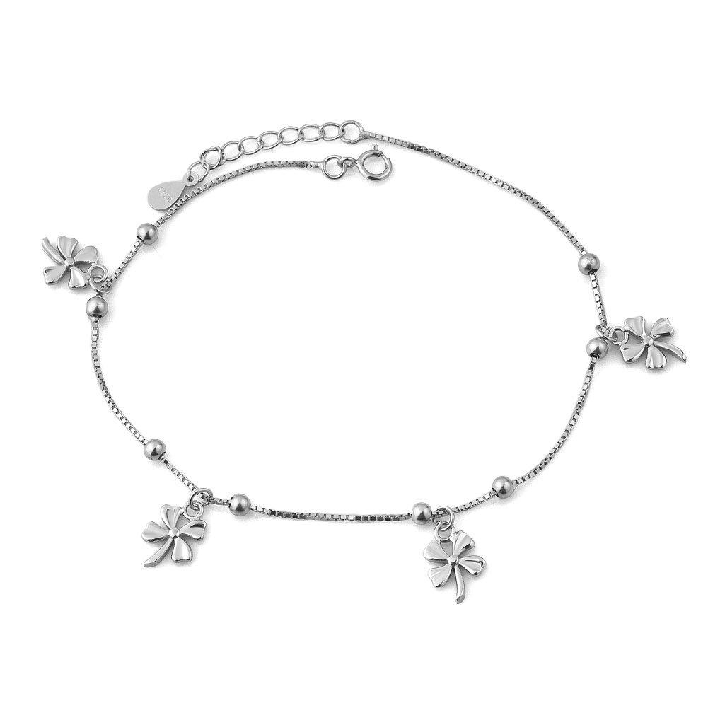 Casa De Novia Jewelry Lucky Clover Beach Bracelet Ankle Wedding Anklet For Bride Bridesmaids Adjustable