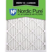 Nordic Pure 16x25x1M13+C-12 MERV 13 Plus Carbon AC Furnace Air Filters, Qty-12