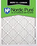 Nordic Pure 16x25x1M13+C-12 MERV 13 Plus Carbon AC Furnace Air Filters, Quantity-12