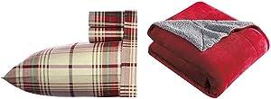 Eddie Bauer Home   100% Cotton Flannel Sheet Set, Queen, Montlake Plaid + Signature Reversible Sherpa Throw, Red