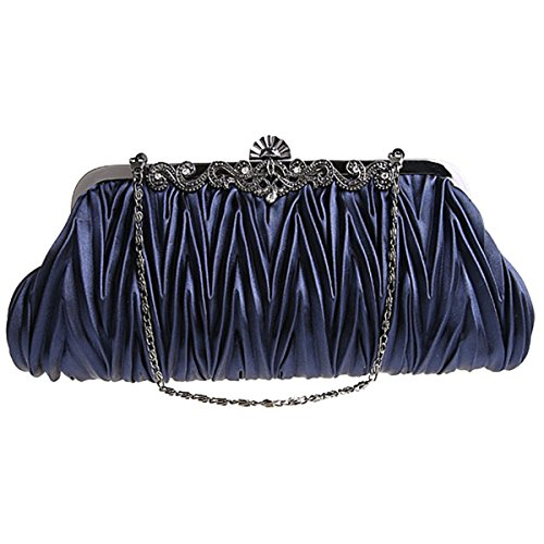 Handbags Women's Party Blue Satin Purse Dark Beaded ABage Wedding Small Clutch Prom Evening OqwnvY