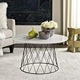 Black Lacquer Coffee Table Safavieh FOX4244C Home Collection Roe Retro Mid-Century White and Black Wood Coffee Table