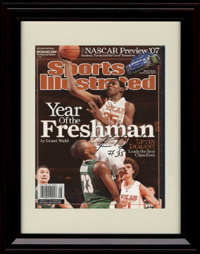 Basketball Longhorns Texas Wood - Framed Kevin Durant Sports Illustrated Autograph Replica Print - Texas Longhorns 2/13/2007