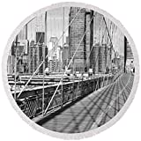 Pixels Round Beach Towel With Tassels featuring ''Brooklyn Bridge Manhattan New York City'' by Pixels