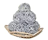 Christmas Gifts : Small Silver Rattan Ball, Wicker Balls, DIY Vase And Bowl Filler Ornament, Decorative spheres balls, Perfect For Decoration And Party 2.5 inch, 12 Pcs (Free Gift From Conserve Brand)