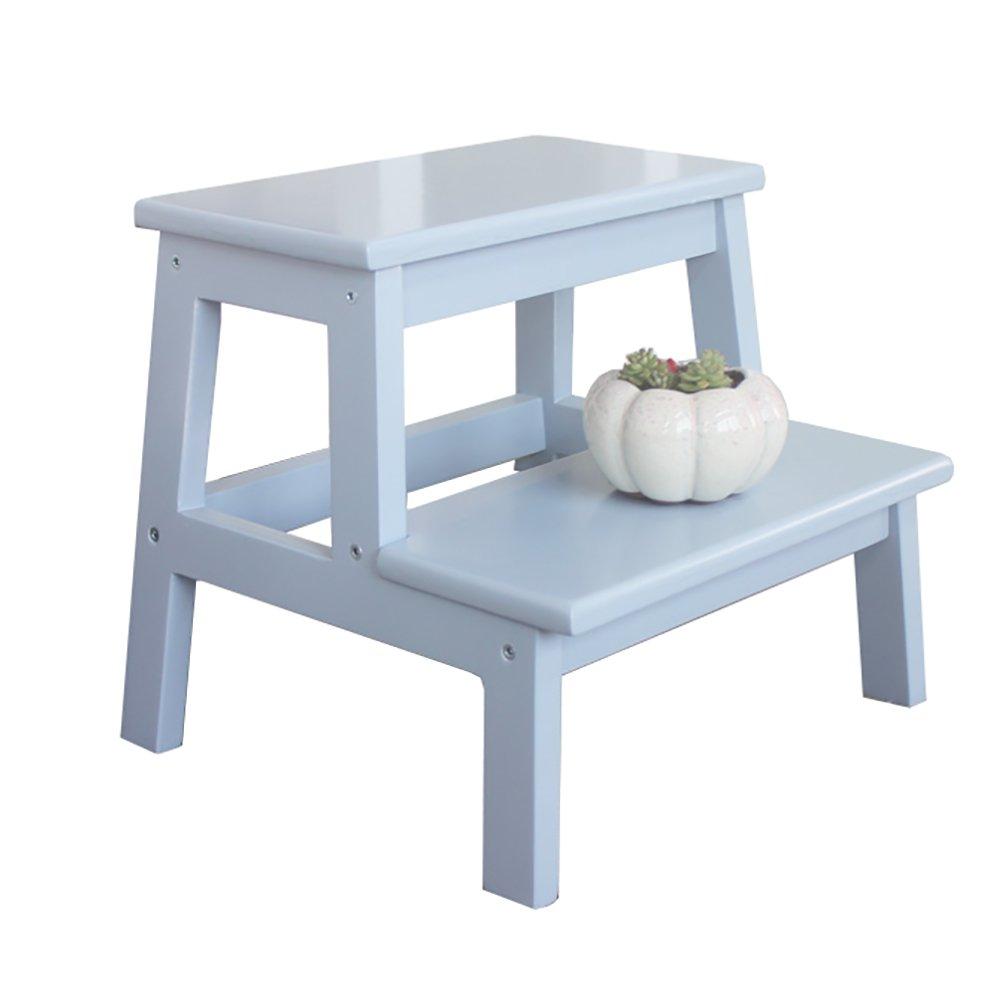 子供のはしごの便無垢材大人のステッピングスツールフラワースタンド棚 (色 : Gray) B07FP51BYS Gray Gray