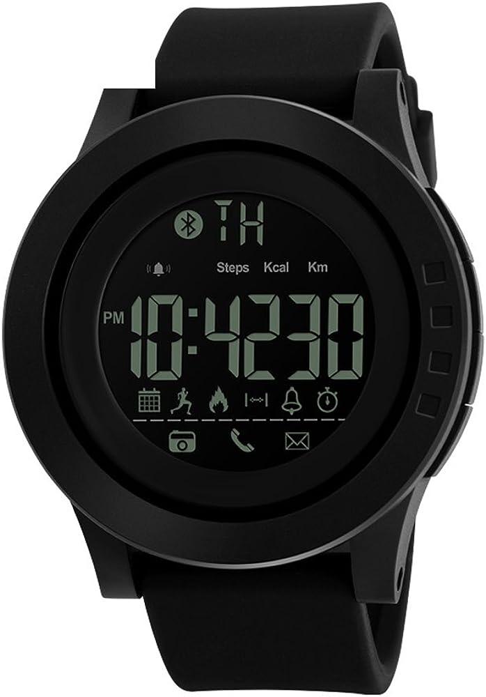 Bluetooth Smart Watch Men, Pulsera Inteligente Deportivo Al Aire Libre con Monitor de Calorías,Podómetro,Notificación de mensajes,Hombre Reloj Inteligente para IOS Android Samsung