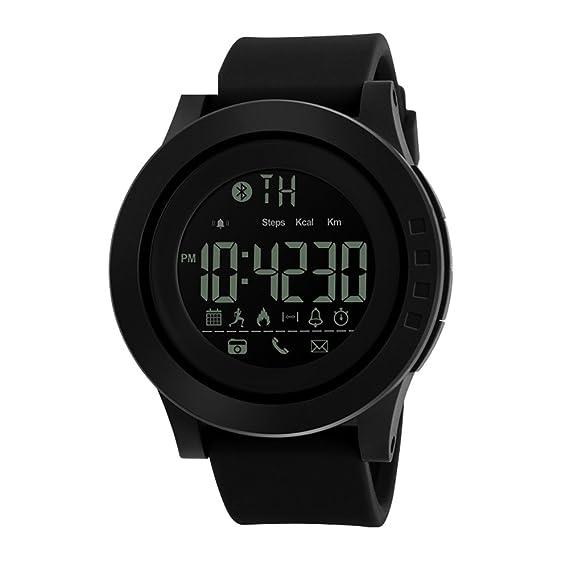Bluetooth Smart Watch Men, Pulsera Inteligente Deportivo Al Aire Libre con Monitor de Calorías,Podómetro,Notificación de mensajes,Hombre Reloj ...