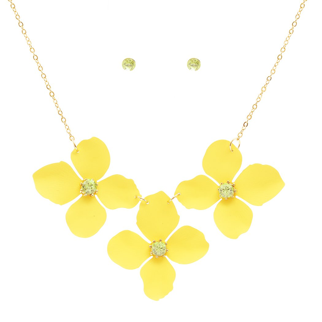 Rosemarie Collections Women's Metal Flower Collar Necklace (Yellow)