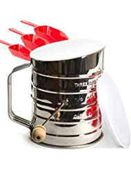 Flour Sifter 3 Cup Stainless Steel - Perfect Sifter for Baking with Super Fine Almond Flour - Powdered Sugar Duster Sifter - Lid and Bottom Cover - Ebook Bonus