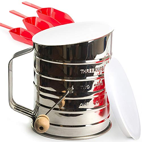 Flour Sifter Stainless Steel 3 Cup - Sifter for Baking Almond Flour - Powdered Sugar Sifters - Lid and Bottom Cover