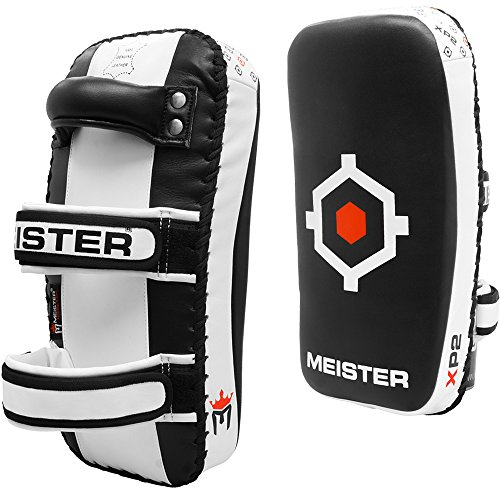 Meister XP2 Professional Curved Thai Pads for Kickboxing & MMA - X-Thick Cowhide Leather - Black - Pair (2 ()