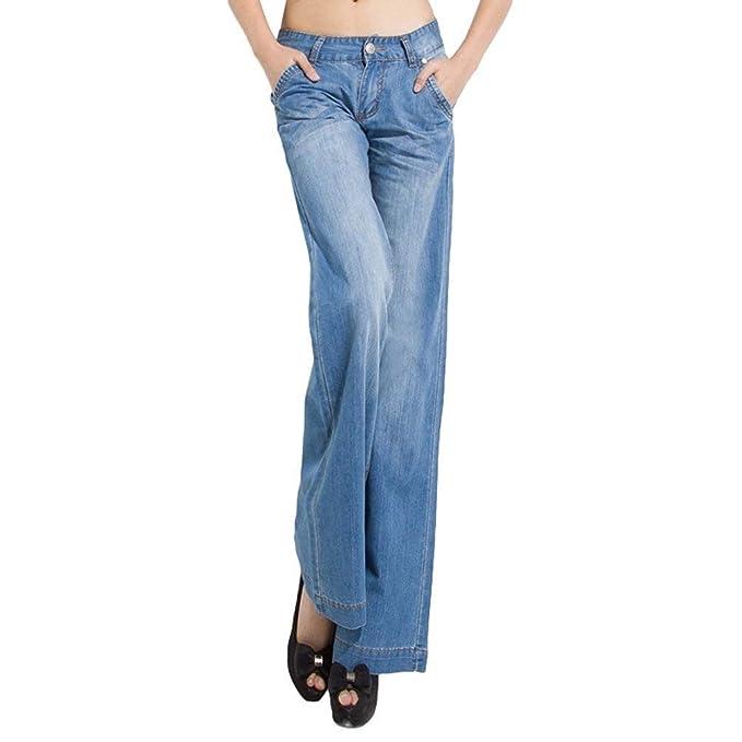 Elegantes Pantalones Vaqueros Rectos De Denim Kick Flare ...