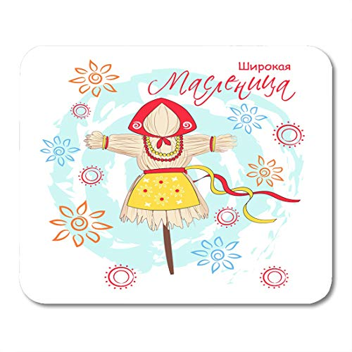 Nakamela Mouse Pads Yellow Abstract Shrovetide Maslenitsa with Traditional Symbol Scarecrow Winter Wide Pancake Week Carnival Mouse mats 9.5