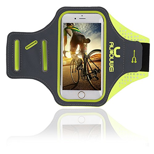 "Sports Armband, Running Armband 5.5"" Super Lightweight Waterproof for iPhone 7 7 Plus 6 6s Plus with Fingerprint Touch Sensor/ Key Headphone Cable Holder/ Card Pouch for Running,Hiking,Biking(Green) (Armband Green Apple)"