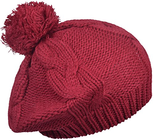 Winter Baggy Beret For Women Crochet Pom Slouchy Knit Beanie Ski Cap Hat Red