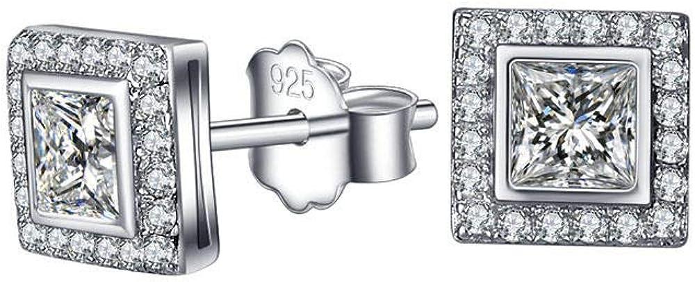 2020 Square Rodeado de plata 925,Aretes con circonitas AAA Pendientes cuadrados
