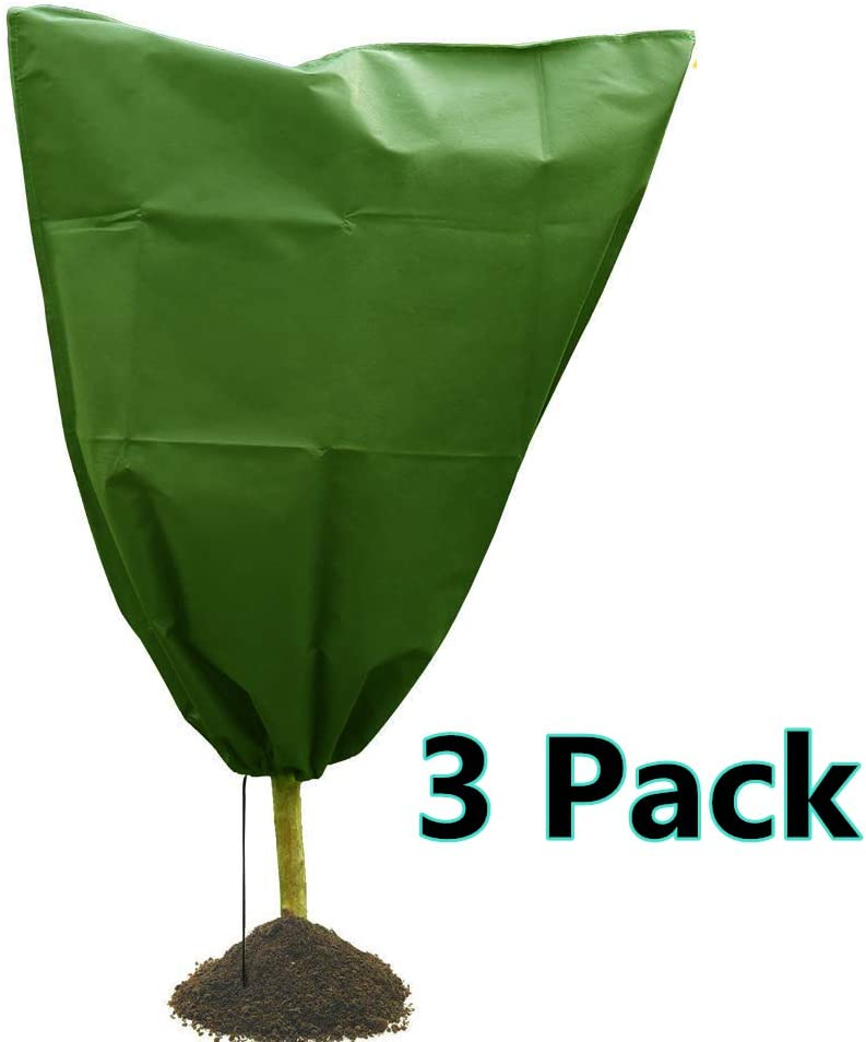 Drawstring Plant Covers Freeze Protection Warm Worth Frost Blanket 31.5 x39 Non-Woven Greenhouse Bags for Winter Frost Cold Protection 3 Pack