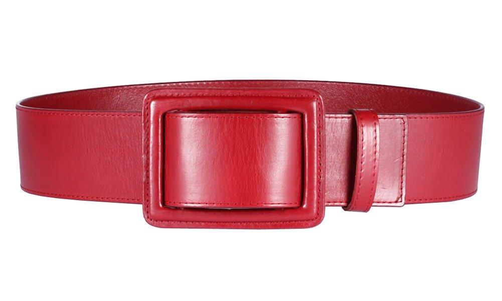 Aecibzo Women High Waist Genuine Cowhide Leather Wide Waist Belt Waistband (Red)