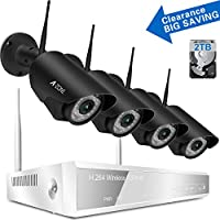 A-ZONE Wireless Security Cameras 4CH 960P HD NVR CCTV Security Camera System 4x720P IP Cameras Surveillance Camera Kit for Home/Office, 80ft IR Infrared Night Vision W/2TB HDD