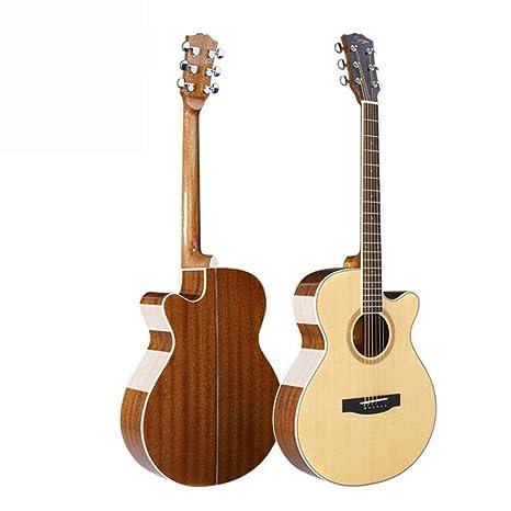 Hjyi Guitarra acústica, Guitarra acústica de Palo de Rosa de Pino Rojo, luz en