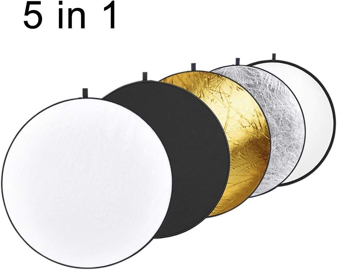 Folding Reflector Board Durable 80cm CAOMING 5 in 1 Silver//Translucent//Gold//White//Black
