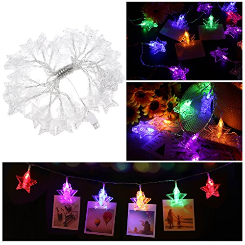 30 Photo Clips String Lights Holder, YUNLIGHTS USB Powered, for Indoor Fairy Hanging Pictures Cards Memos Artworks, Teen Girl Gift Dorms Bedroom Wedding Party Decoration (18ft, (Beautiful Light Photography)