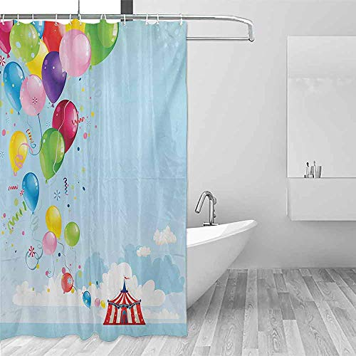 (Xlcsomf Waterproof Shower Curtain Circus Circus Tent and Balloons Clouds Horizon Skyline Fantasy Party Fun Entertainment Enjoy The Fresh Environment Multicolor,W72 xL72)