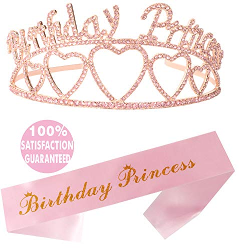 Birthday Princess Sash and Tiara, Birthday Girl Sash and Crown, Happy Birthday Party Supplies, Favors, Decorations 13th, 16th, 21st, 30th, 40th, 50th, 60th, 70th, 80th, 90th Birthday (Pink)]()