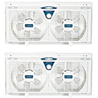 Lasko 8 Inch Portable Electrically Reversible Thermostat Twin Window Fan, 2 Pack