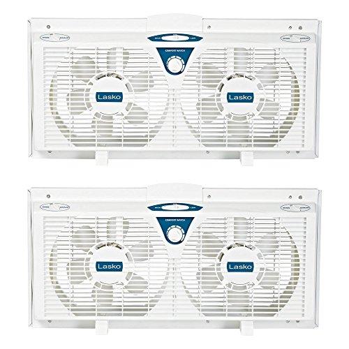 Lasko Twin Window (Lasko 8 Inch Portable Electrically Reversible Thermostat Twin Window Fan, 2 Pack)