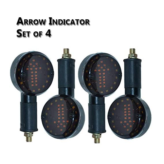 AutoSun Arrow LED Side Indicator Red and Orange (Set of 4) for Royal Enfield Classic 350