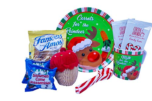 Christmas Hot Cocoa and Cookies Gift For Kids With Mug, Plate, Hot Chocolate, Marshmallows, Cookies, Xmas Plush, and a Candy Cane Spoon - Best Gift Idea For Children or Grandchildren