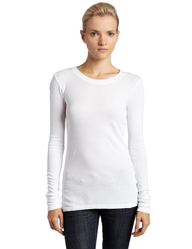 (LAmade Women's Long Sleeve Thermal Tee, White, Medium)