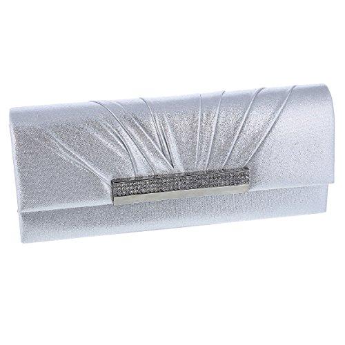 - Damara Womens Long Stylish Rhinestones Wedding Party Bag,Silver