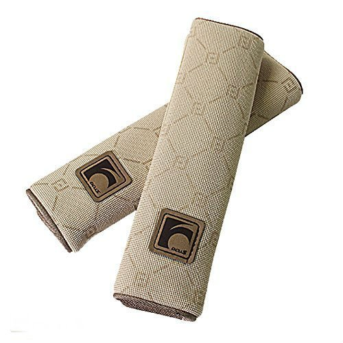 Auto Car Seat Belt Cover Plush Seat Shoulder Pad Cushion Strap Covers 2 Pcs One Pair (Beige) - Ca Seat Cushion