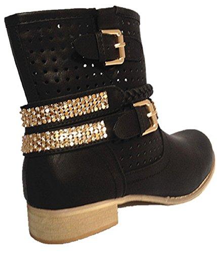 Heel Woman Bottine Boot Zip Biker New 01 Strass Black Boots LL wEq5AqR
