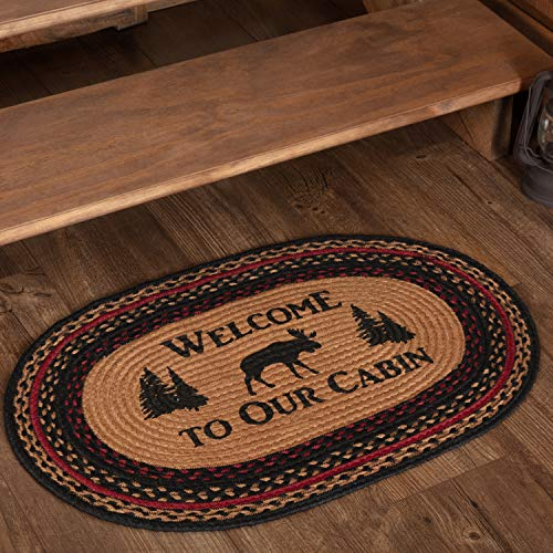 (VHC Brands 51209 Rustic Flooring Cumberland Moose Welcome to The Cabin Jute Stenciled Nature Print Oval Rug Tan)