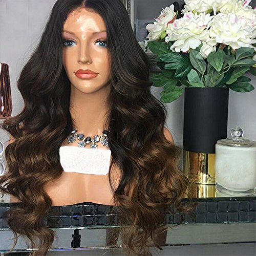 Wet and Wavy Lace Front Wigs Human Hair With Baby Hair 13x6 #1b/#4 Ombre Brazilian Lace Front Wigs For Black Women (22 inch) by Clymene