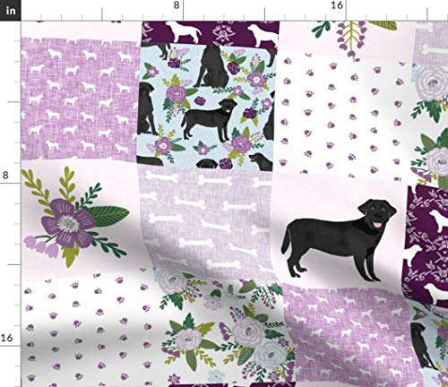 Spoonflower Labrador Retriever Fabric - Black Lab C Dog Breed Quilt Pattern Wholecloth Dogs Cheater Petquiltc Baby Print on Fabric by The Yard - Chiffon for Sewing Fashion Apparel Dresses Home Decor