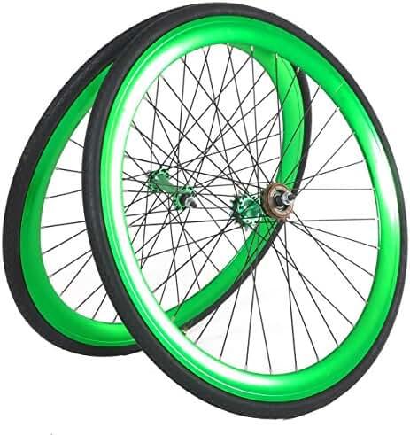 Vilano Fixed Gear 700c x 25 Bike Wheels Deep V Wheel Set Free Tires