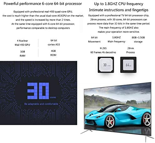YILANJUN 32/42/46/55/60-Inch 4K Smart TV LCD HD Internet Television with Wall Mount and Base, Explosion-Proof High-Definition Eye Protection Blue-ray, Wi-Fi, for Kitchen Bedroom 51iTC00vWPL