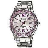 Casio #LTP1359D-4AV Women's Pink Sprinkled Bezel Metal Fashion Silver Dial Watch
