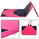 4'x10'x2'' Thick Folding Panel Gymnastics Mat Gym Fitness Exercise Pink/black