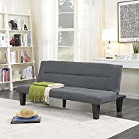 Belleze Futon Sofa Bed Furniture Sleeper Adjustable Lounger Convertible Comfort Low Seat Microfiber w/Wooden Legs, Gray