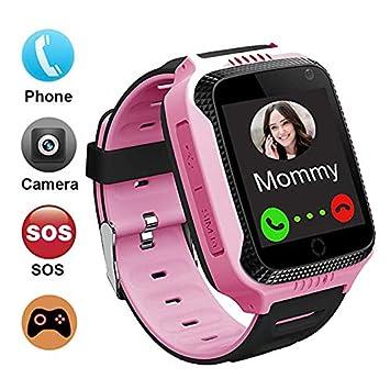 GPS localizador Reloj Inteligente para Niños Telefono, GPS Tracker Anti-pérdida para Smartwatch, Perímetro de Seguridad, Cámera, SOS, Linterna, Juegos ...