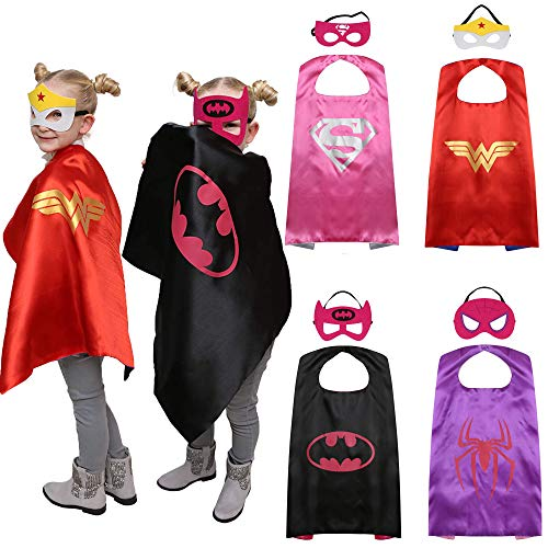 Superhero Capes and Masks Kids Dress up Costumes Set of 4 Best Gifts for Boys Girls Birthday Party Cosplay -