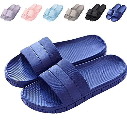 clootess Womens Men Home Shoes Bath Slipper Indoor Sandal Shower Slides Soft Non-Slip Quick Drying Bathroom Pool Gym Navy 42.43